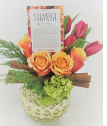 Flowers with Charity of the Month Card Featuring Mary Crowley Cancer Research