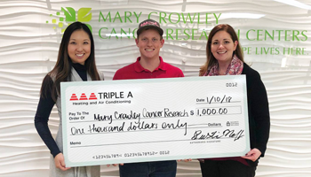 Mary Crowley Cancer Research receives donation from Triple A Air Conditioning Flower Mound